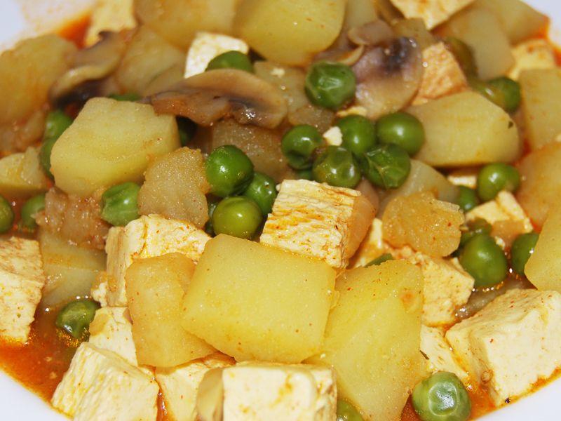 Tofu - na hubách s hráškom